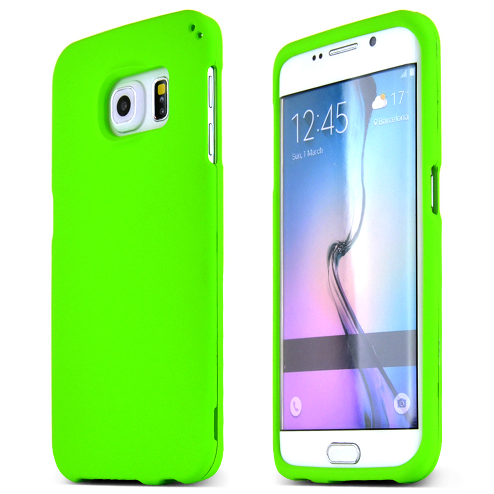separation shoes fce92 013d8 Samsung Galaxy S6 Edge Case [Neon Green] Slim & Protective Rubberized Matte  Finish Snap-on Hard Polycarbonate Plastic Case Cover