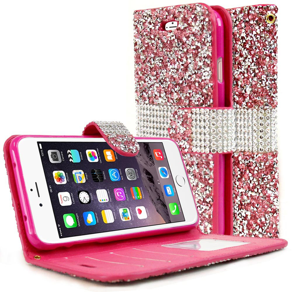 the best attitude f7e23 cd334 Made for Apple iPhone 8/7/6S/6 Plus Wallet Case [Pink Shiny Sparkling Gem  w/ Silver] Kickstand Feature Luxury Faux Saffiano Leather Front Flip Cover  ...